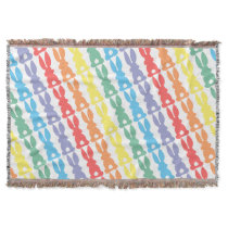 Rainbow Bunny Rabbits Bunny Tail Silhouette Throw Blanket