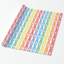 Rainbow Bunny Rabbits Silhouette Cute Fun Wrapping Paper