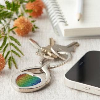 Rainbow Burlap Tweed Wool Jute Keychain
