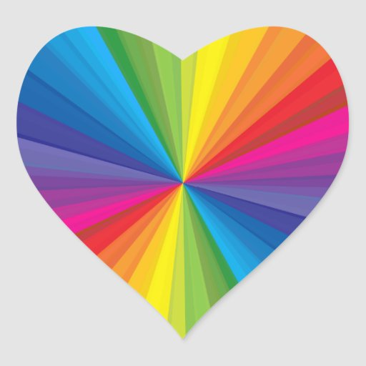 Rainbow Burst Heart Sticker