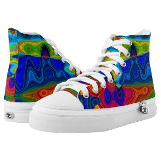 Rainbow Burst Hi Top Printed Shoes