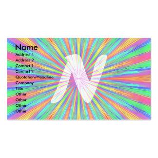 Rainbow Burst Monogram N Business Card
