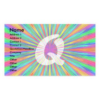 Rainbow Burst Monogram Q Business Card