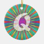 Rainbow Burst Monogram Q Ceramic Ornament