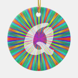 Rainbow Burst Monogram Q Double-Sided Ceramic Round Christmas Ornament