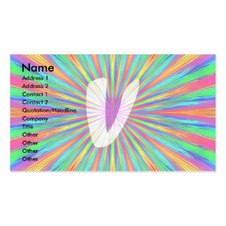 Rainbow Burst Monogram V Business Card