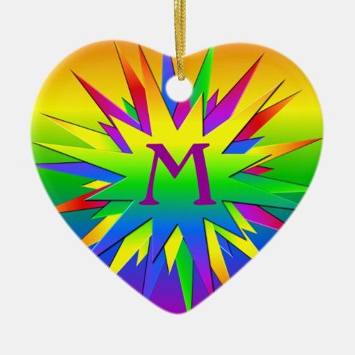 Rainbow Burst Ornament, customize Ceramic Ornament