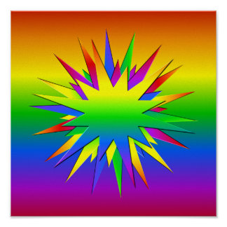 RAINBOW BURST poster, customize Poster