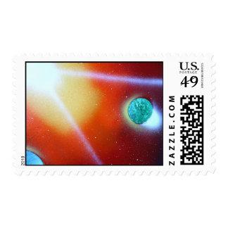 rainbow burst small planet spray painting sun postage stamp
