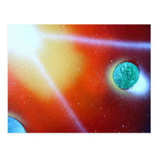 rainbow burst small planet spray painting sun postcard