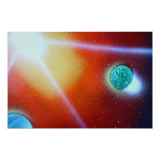 rainbow burst small planet spray painting sun print