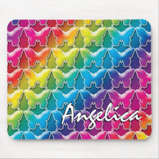 Rainbow Butterflies 80s style mouse pad