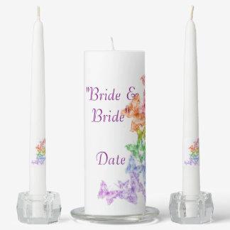 Rainbow Butterflies Lesbian Unity Wedding Candle