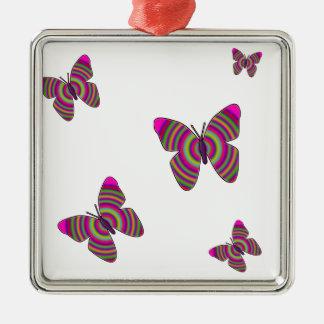 Rainbow Butterflies Metal Ornament