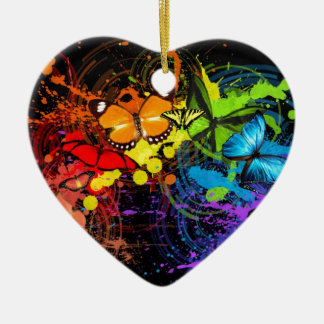 Rainbow butterflies Double-Sided heart ceramic christmas ornament