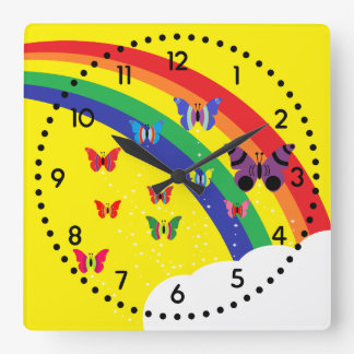 Rainbow & Butterflies Square Wall Clock