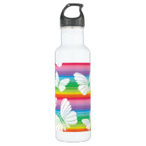 Rainbow butterflies stainless steel water bottle