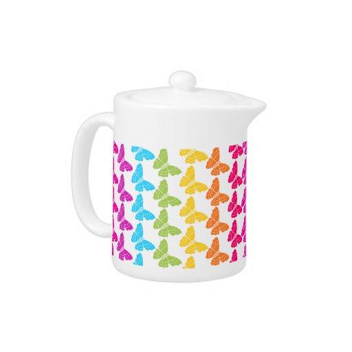 Rainbow butterflies Tea Pot