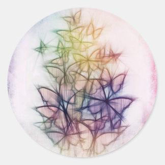 Rainbow Butterfly Art Classic Round Sticker