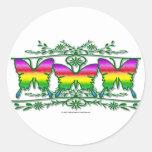 Rainbow Butterfly Band Round Sticker