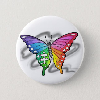Rainbow Butterfly Button