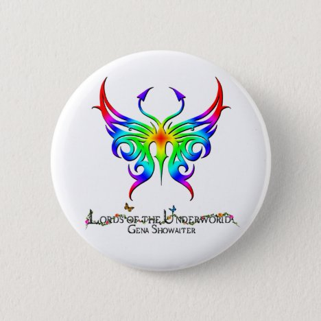 Rainbow butterfly button. pinback button