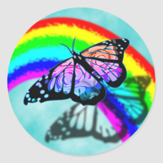 Rainbow Butterfly Classic Round Sticker