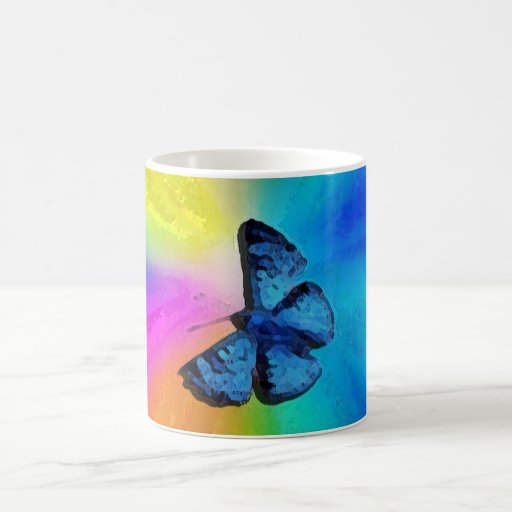 rainbow butterfly classic white coffee mug