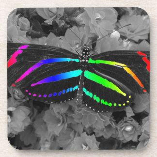 Rainbow Butterfly Color Pop Photography Drink Coaster