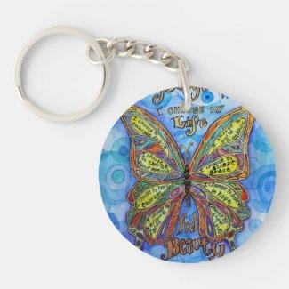 Rainbow Butterfly Diabetes Keychain (Art & Poem)