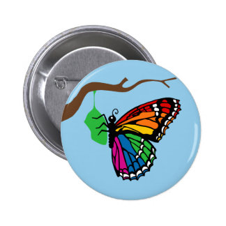Rainbow Butterfly Emerging From Chrysalis Button