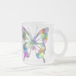 Rainbow butterfly frosted glass coffee mug