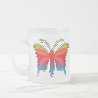 Rainbow Butterfly Frosted Mug