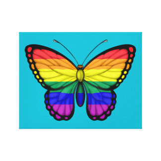 Rainbow Butterfly Gay Pride Flag Canvas Print