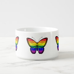 Rainbow Butterfly Gay Pride Flag Chili Bowl