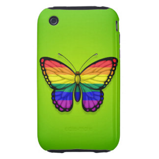 Rainbow Butterfly Gay Pride Flag on Green Tough iPhone 3 Case