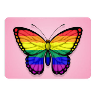 Rainbow Butterfly Gay Pride Flag on Pink Card