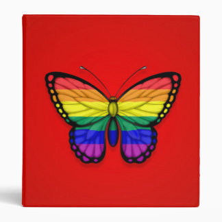 Rainbow Butterfly Gay Pride Flag on Red Binder