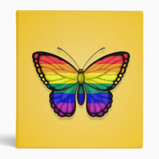 Rainbow Butterfly Gay Pride Flag on Yellow Vinyl Binder