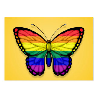 Rainbow Butterfly Gay Pride Flag on Yellow Business Cards