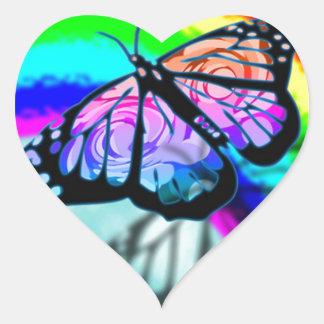 Rainbow Butterfly Heart Sticker