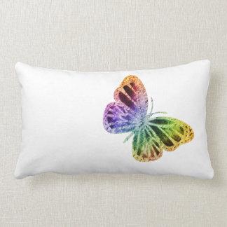 Rainbow Butterfly Lumbar Pillow