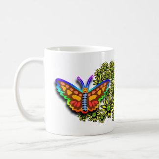 Rainbow Butterfly Peace Flowers Coffee Mug
