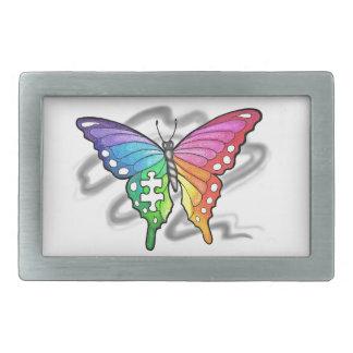 Rainbow Butterfly Rectangular Belt Buckle