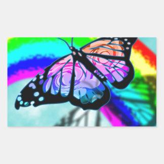 Rainbow Butterfly Rectangular Sticker
