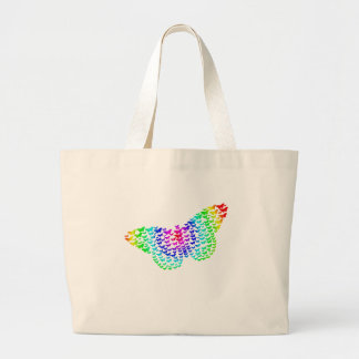 Rainbow Butterfly Silhouette Large Tote Bag