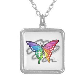 Rainbow Butterfly Silver Plated Necklace