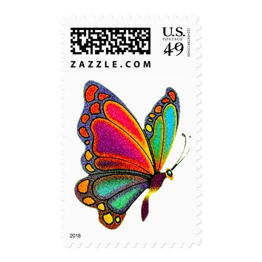 Rainbow Butterfly Stamp