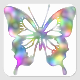 Rainbow butterfly square sticker
