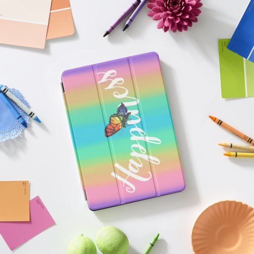 Rainbow Butterfly With White Typography  iPad Pro Cover
